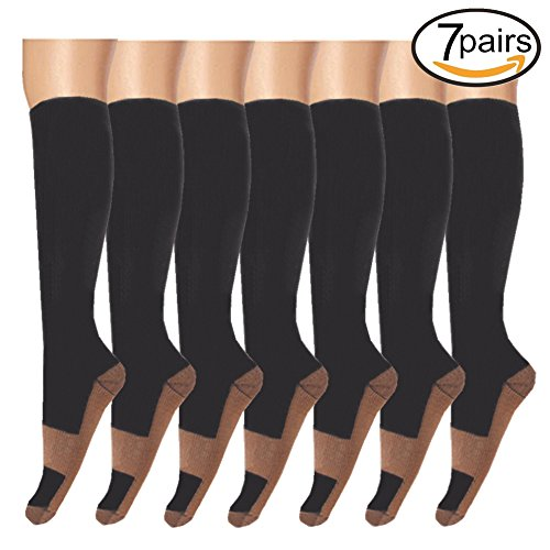 Compression Socks,Copper Infused Support - Best For Running, Athletic, Medical, Pregnancy and Travel -15-20mmHg-7 Pairs