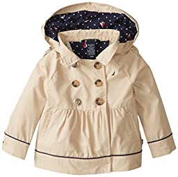 Nautica Baby Girls\' Classic Hooded Trench Coat, Tan, 18 Months