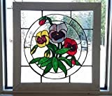 Pansy Flower Floral Stained Glass Suncatcher Panel