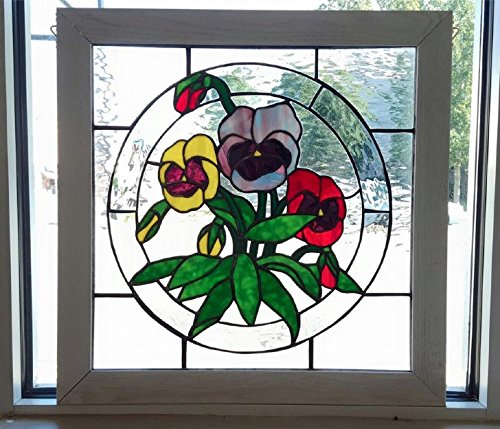 Pansy Flower Floral Stained Glass Suncatcher Panel by Belle le Verre StainedGlass