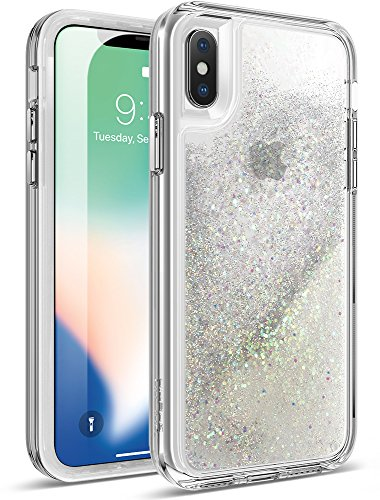 iPhone Xs Glitter Case, iPhone X Glitter Case, Poetic Cascade [Scratch Resistant Back] [Built-in Screen Protector] Flowing Liquid Case for Apple iPhone X (2017) /iPhone Xs (2018) - Iridescent Diamond
