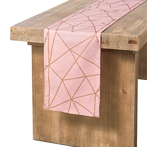 Ling's moment Geometric-Inspired Pink and Gold Table Runner for Pink Graduation Party, Morden & Stylish Wedding Decor, 100% Cotton 12 x 72 Inches