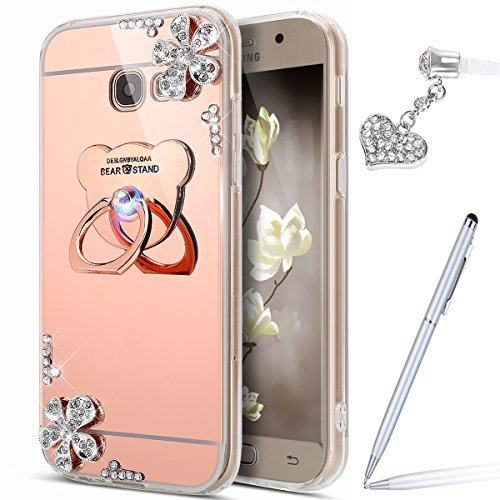 Galaxy J7 Prime Case,Galaxy J7 Prime Mirror Case,ikasus Inlaid diamond Flowers Rhinestone Glitter Bling Mirror Back TPU Case & Bear Ring Stand Holder +Touch Pen Dust Plug for Galaxy J7 Prime,Rose Gold