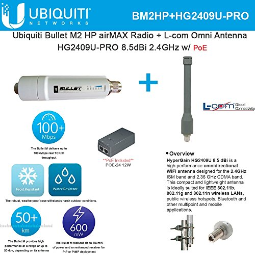 Ubiquiti Bullet M2 HP BM2HP airMAX Radio + L-com Omni Antenna HG2409U-PRO by Ubiquiti Networks