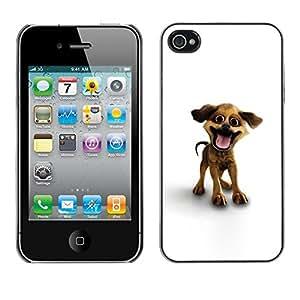 TopCaseStore / la caja del caucho duro de la cubierta de protección de la piel - Funny Happy Puppy Dog - Apple iPhone 4 / 4S