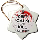 3dRose orn_178690_1 Keep Calm and Kill Walkers-Snowflake Ornament, Porcelain, 3-Inch