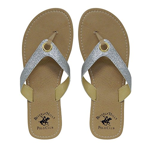 Beverly Hills Polo Club Glimmer Women's Sparkle Sandal Flip Flop Thong (8 US)
