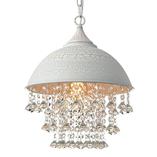 BAYCHEER Industrial Retro style Wrought Iron Shaded Glittering Crystal Beads Hanging Pendant Light Lamp Chandelier with 1 light, White
