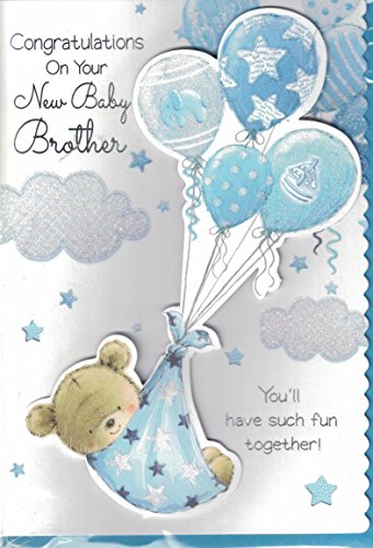 new baby boy card congratulations on the birth of your brother new baby brother card amazoncouk toys games