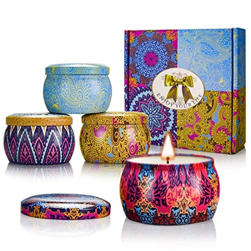 Portable Gift Set - YMING Scented Candles Gift Sets - Natural Soy Wax Votive Candle 4.4 Oz Portable Travel Tin Perfect for Women Yoga Aromatherapy Anniversary 4 Pack