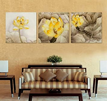 Large Wall Art Yellow Lotus Canvas Prints Picture Mounted And Ready To Hang  Set Of 3 20*20inches #11 113: Amazon.co.uk: Kitchen U0026 Home