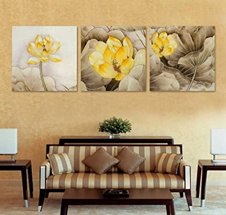 Large Wall Art Yellow Lotus Canvas Prints Picture Mounted and ready ...