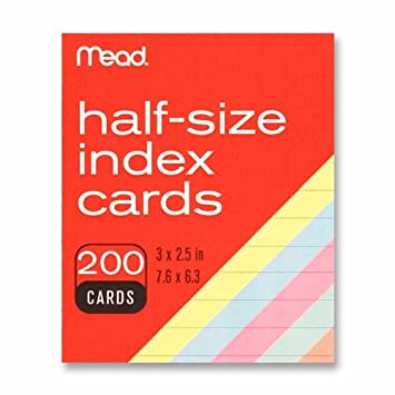photo relating to Printable Index Cards called : Mead Coloured Index Playing cards, 3 X 2.5 Inches (63039