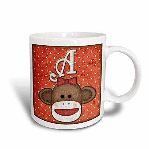 3dRose mug_102804_1 Cute Sock Monkey Girl Initial Letter A Ceramic Mug, 11-Ounce