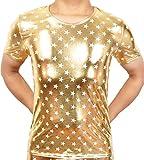 Cedir Gold Faux Leather T-Shirt Stars Pattern Short Undershirt Muscle Shirt XL Gold