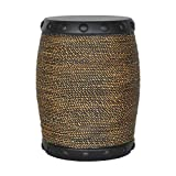 allen + roth Abaca with Black Rim Faux Rope Stool, Indoor Outdoor Rustic Barrel Style, 14.75'' W x 18.5'' H