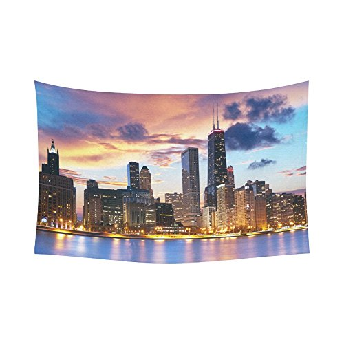 Interestprint Chicago Skyline Tapestry Horizontal Wall Hanging Dream Night View Chicago Cityscape Wall Decor Art for Living Room Bedroom Dorm Cotton Linen Decoration 90 X 60 Inches -