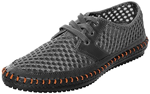 UJoowalk Men's Casual Breathable Flexible Outdoor Lace up Sneakers Quick Drying Mesh Aqua Water Shoes (7 D(M) US, Gray)