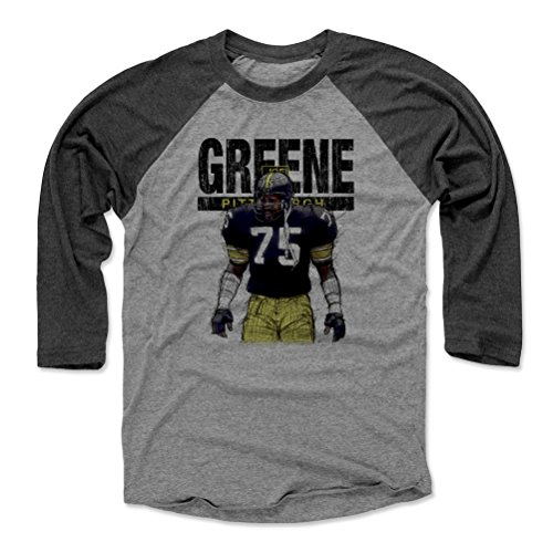 500 LEVEL Mean Joe Greene Baseball Tee Shirt XX-Large Black/Heather Gray - Vintage Pittsburgh Football Raglan Shirt - Joe Greene Sketch K -