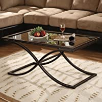 Wood and Glass Accent Coffee Cocktail Table - Black