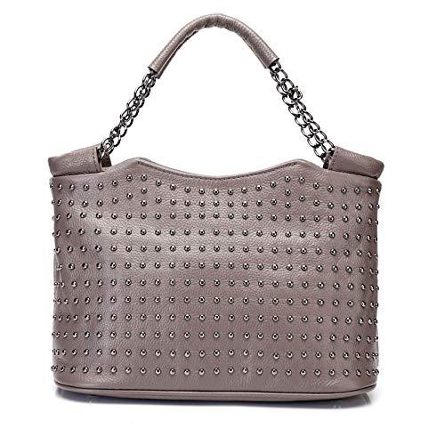 Cuir Diagonales Sacs Rivets Haut Mode Main De Gray Gamme En Mesdames Chaînes Portables à 8RY7aqRF