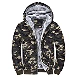 Clearance Sale! Daoroka Mens Coat Camouflage Hoodie Winter Warm Fleece Zipper Sweater Casual Pockets Jacket Outwear