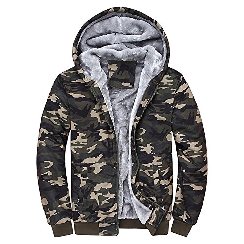 Daoroka Mens Coat Camouflage Hoodie Winter Warm Fleece Zipper Sweater Casual Pockets Jacket Outwear
