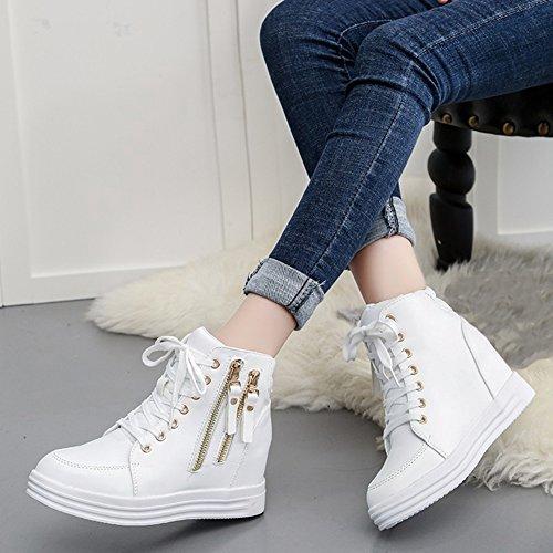 GIY Womens High Top Wedge Sport Platform Sneakers - Round Toe Increased Height Hidden Heel Bootie Shoes White aznGi4