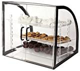 Countertop Bakery Display Case, Clear Acrylic With Black Metal Frame, Rear-loading Doors And 3 Removable Trays - 18 x 19-1/2 x 16-1/2-Inch