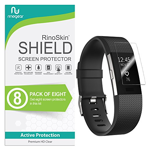 ((8-Pack) RinoGear for Fitbit Charge 2 Screen Protector Case Friendly Screen Protector for Fitbit Charge 2 Accessory Full Coverage Clear Film)