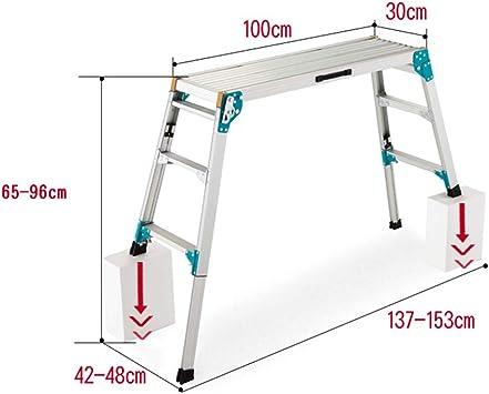 DD Escalera Plegable Para Escalones Aluminio, Plataforma Trabajo, Plataforma Trabajo, 150 Kg (Tamaño : High adjustment-65-96cm): Amazon.es: Bricolaje y herramientas