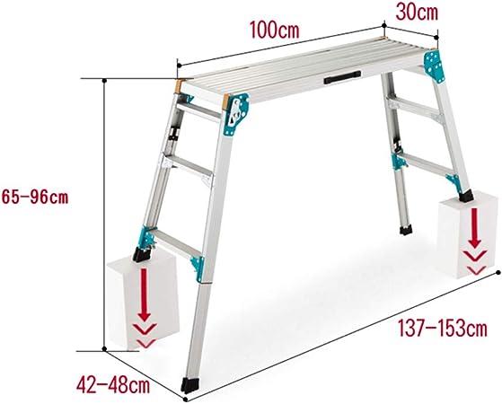ZR- Escalera Plegable Para Escalones Aluminio, Plataforma Trabajo, Plataforma Trabajo, 150 Kg -Fácil de almacenar y fácil de llevar (Tamaño : High adjustment-65-96cm): Amazon.es: Hogar