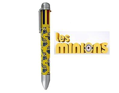 MINIONS 6 COLOUR RETRACTABLE BALLPOINT PEN Kids Yellow Despicable Me Multicolour