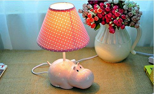 Kreative Hippo Kindertischlampe Schlafzimmer Nachttischlampe Nacht Feeding Lampe R.Aug.Lampe Personalisierte Geburtstags-Geschenk-Schreibtischlampe ( farbe : Pink )