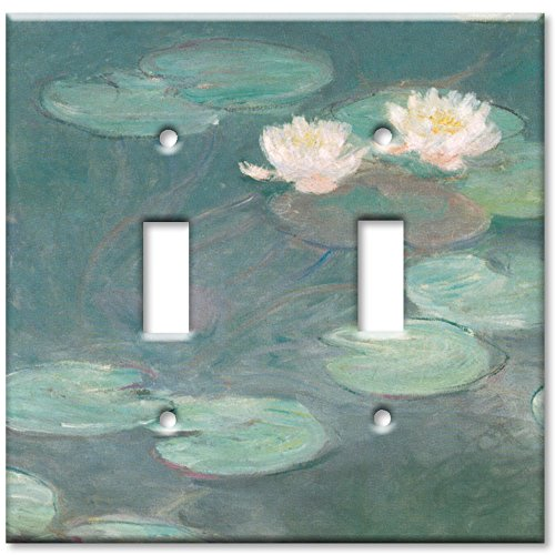 Art Plates - Double Gang Toggle OVERSIZE Switch Plate/OVER SIZE Wall Plate - Monet: Water Lilies - Oversize Covers Switchplate