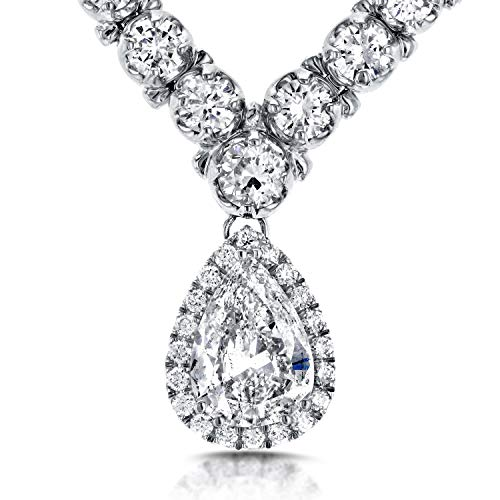 Pear Shape Diamond Eternity Tennis Necklace 10 2/5 CTW in 18k White Gold (16