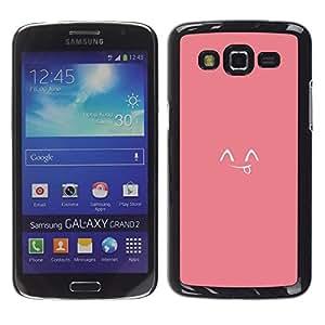 Lengua sonriente japonés lindo Emoticon - Metal de aluminio y de plástico duro Caja del teléfono - Negro - Samsung Galaxy Grand 2