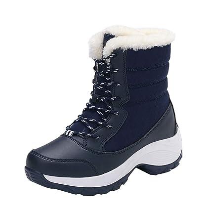 ❤ Zapatos al Aire Libre de Las Mujeres de Felpa, Mujeres Antideslizantes Botas Impermeables Plataforma del tobilloBotas de Nieve Zapatos de Viaje Botas ...