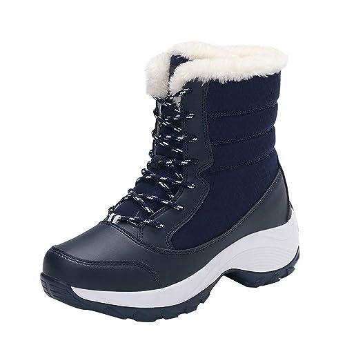 Zapatillas Botas Mujer de Altas, Mezcla de Colores Antideslizante Calzado Seguridad Deportivo Invierno Botas Mujer