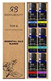 Radha Essential Oil Blends Set - 100% Pure and Natural Kit for Aromatherapy Sea of Thieves, Stress Free, Rest & Relax, Breathe Easy, Pure Healing, Happy Citrus, great Gift - 6/10 ml