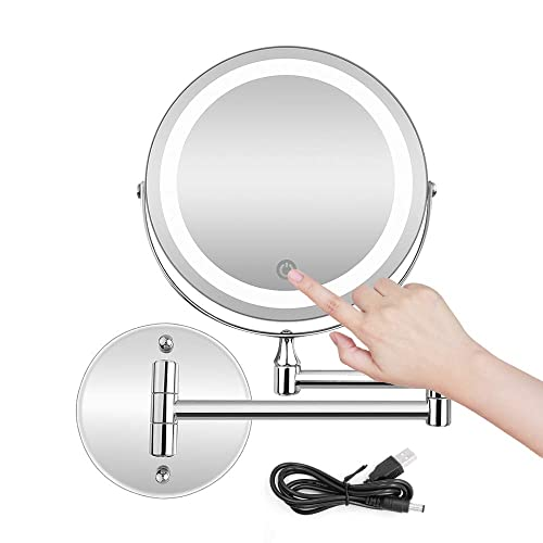 BRIGHTINWD 5X LED Wall Mounted Makeup Mirror