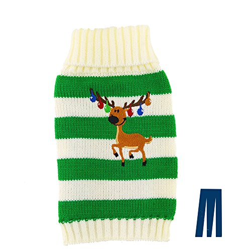 Mikayoo pet Sweater for Small Dog/cat,Ugly Sweater,Color Horizontal Stripes,Christmas Holiday Xmas, Elk Series, Reindeer Series,with Bells(Green,XS)