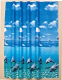 Beautiful extra long shower curtain wide 240cm x length 200cm  rings included (Dolphin)