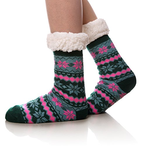 Womens Super Soft Warm Cozy Fuzzy Fleece-lined Non-skid Knee Highs Christmas Winter Slipper socks (turquoise A)