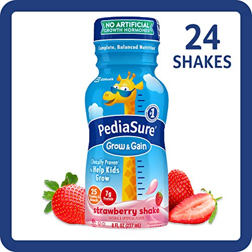 (PediaSure Grow & Gain Kids' Nutritional Shake, with Protein, DHA, and Vitamins & Minerals, Strawberry, 8 fl oz, 24-Count )