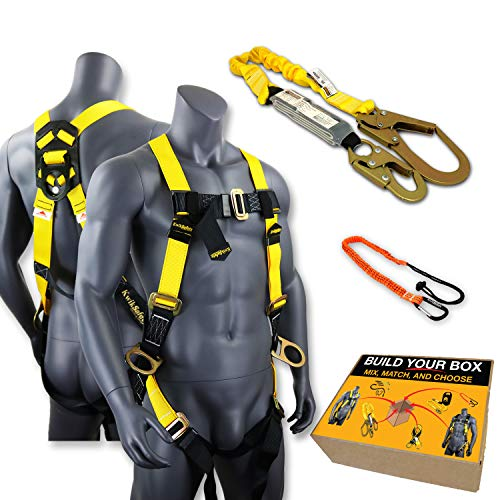 (KwikSafety (Charlotte, NC) BOA COMBO | 3D Full Body Safety Harness, 6' Lanyard, Tool Lanyard, Anchor ANSI OSHA PPE Fall Protection Arrest Restraint Universal Construction Roofing Bucket )