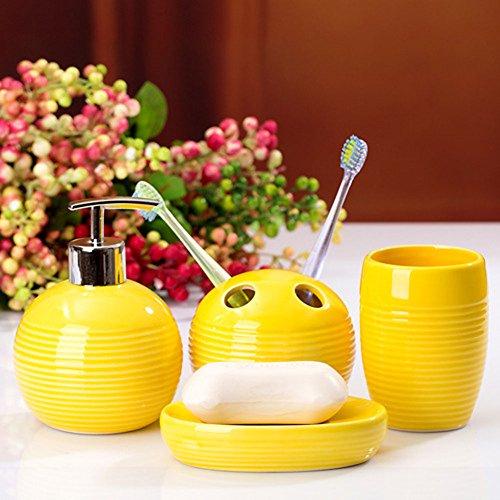 YOURNELO Simple Ceramic Toothbrush Holder, Soap Dispenser, Soap Dish, Tumbler (Yellow)