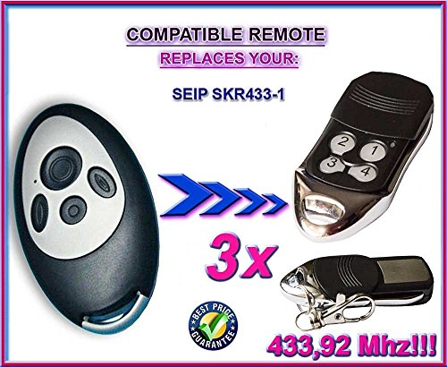 Price comparison product image 3 X SEIP SKR433-1 compatible remote control replacement transmitter, 433.92Mhz rolling code keyfob. 3 Pieces!!!