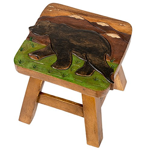 Bear in Mountains Design Hand Carved Acacia Hardwood Decorative Short Stool by Sea Island Imports