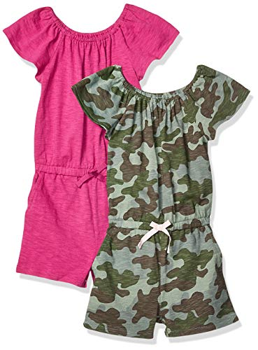 Spotted Zebra Little Girls' 2-Pack Knit Ruffle Top Rompers, Camo/Fuchsia, X-Small (4-5)